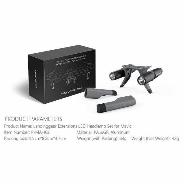 Landegestell Erweiterung und Dual LED Scheinwerfer für Mavic Pro - Kombo